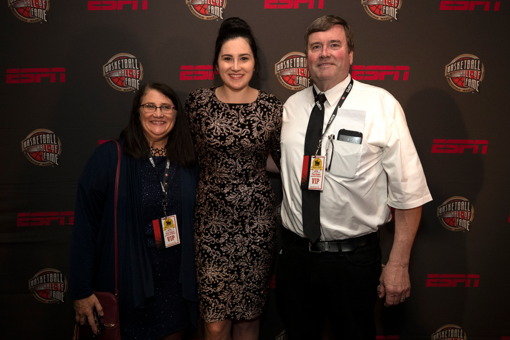 Iowa Hawkeyes forward Megan Gustafson (10) and her parents on the red carpet before the ESPN College Basketball Awards show Friday, April 12, 2019 at The Novo at LA Live.  (Brian Ray/hawkeyesports.com)