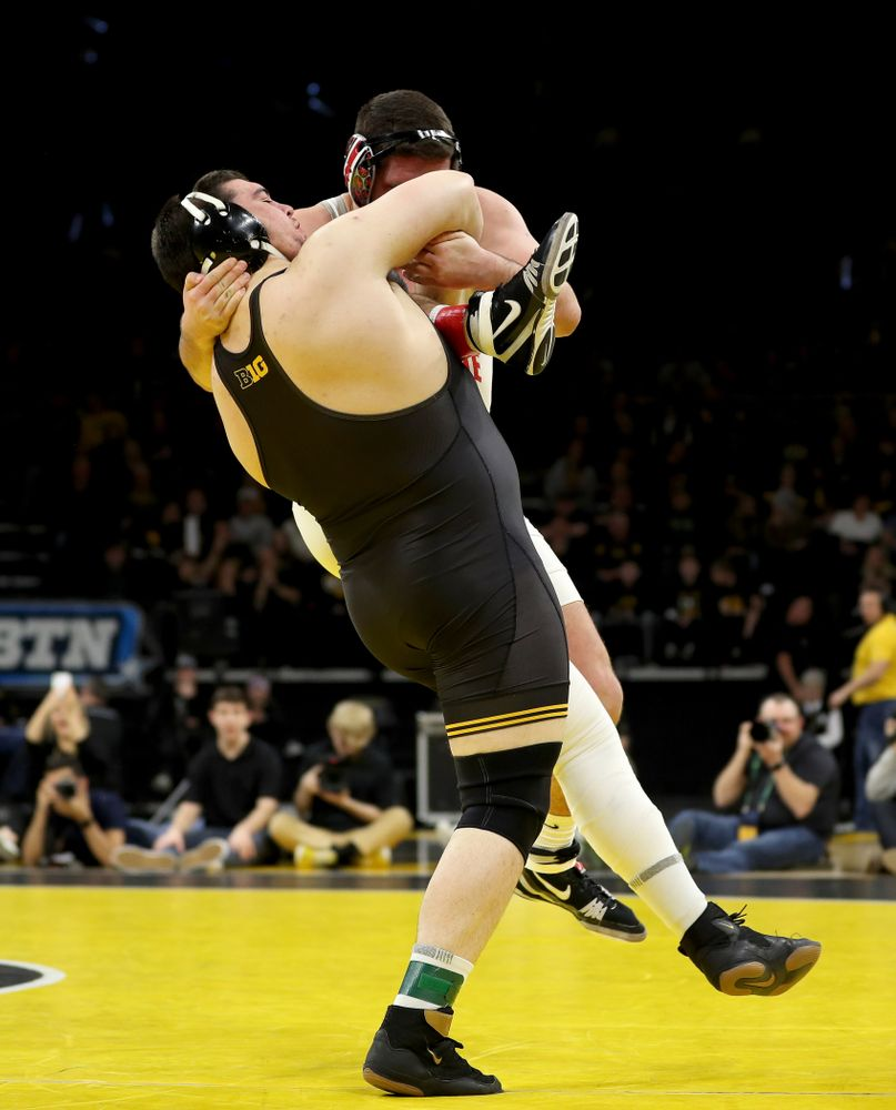 Iowa's Tony Cassioppi wrestles Ohio State's Gary Traub at heavyweight Friday, January 24, 2020 at Carver-Hawkeye Arena. Cassioppi won the match 9-3. (Brian Ray/hawkeyesports.com)