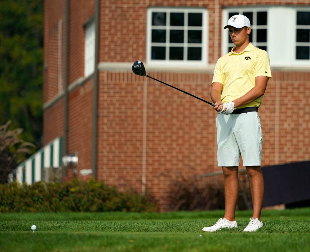 Iowa's Garrett Tighe lines up a drive during the third day of the Golfweek Conference Challenge at the Cedar Rapids Country Club in Cedar Rapids on Tuesday, Sep 17, 2019. (Stephen Mally/hawkeyesports.com)