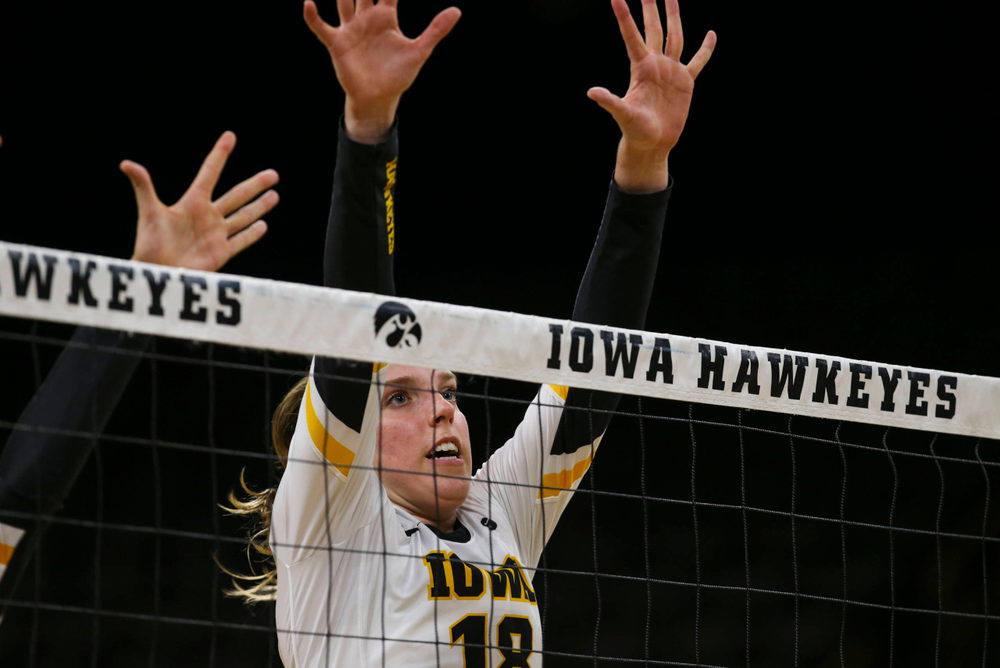Iowa Hawkeyes middle blocker Hannah Clayton (18) against Coastal Carolina Friday, September 20, 2019 at Carver-Hawkeye Arena. (Lily Smith/hawkeyesports.com)