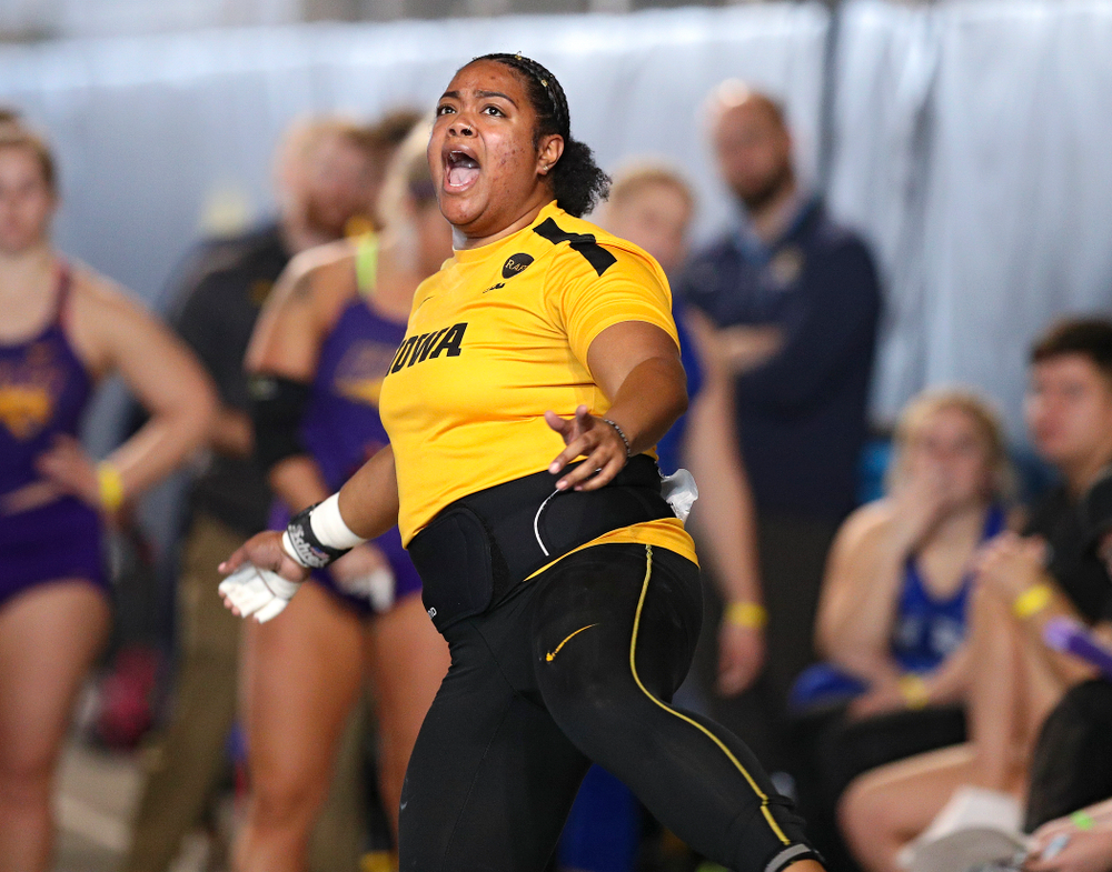 Iowa's Laulauga Tausaga competes in the women's shot put event at the Black and Gold Invite at the Recreation Building in Iowa City on Saturday, February 1, 2020. (Stephen Mally/hawkeyesports.com)