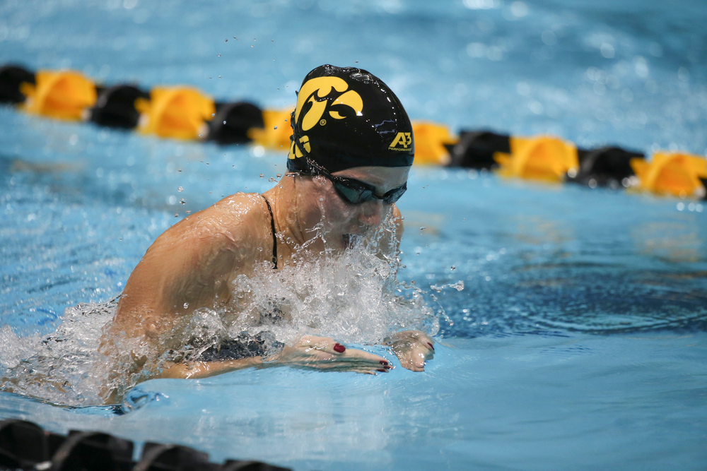 Iowa's Aleksandra Olesiak swims the 200-yard breaststroke during the Iowa swimming and diving meet vs Notre Dame and Illinois on Saturday, January 11, 2020 at the Campus Recreation and Wellness Center. (Lily Smith/hawkeyesports.com)