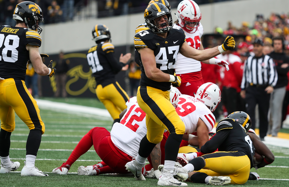 Iowa Hawkeyes lineback Dillon Doyle (43) reacts after making a tackle on a kickoff during a game against Nebraska at Kinnick Stadium on November 23, 2018. (Tork Mason/hawkeyesports.com)