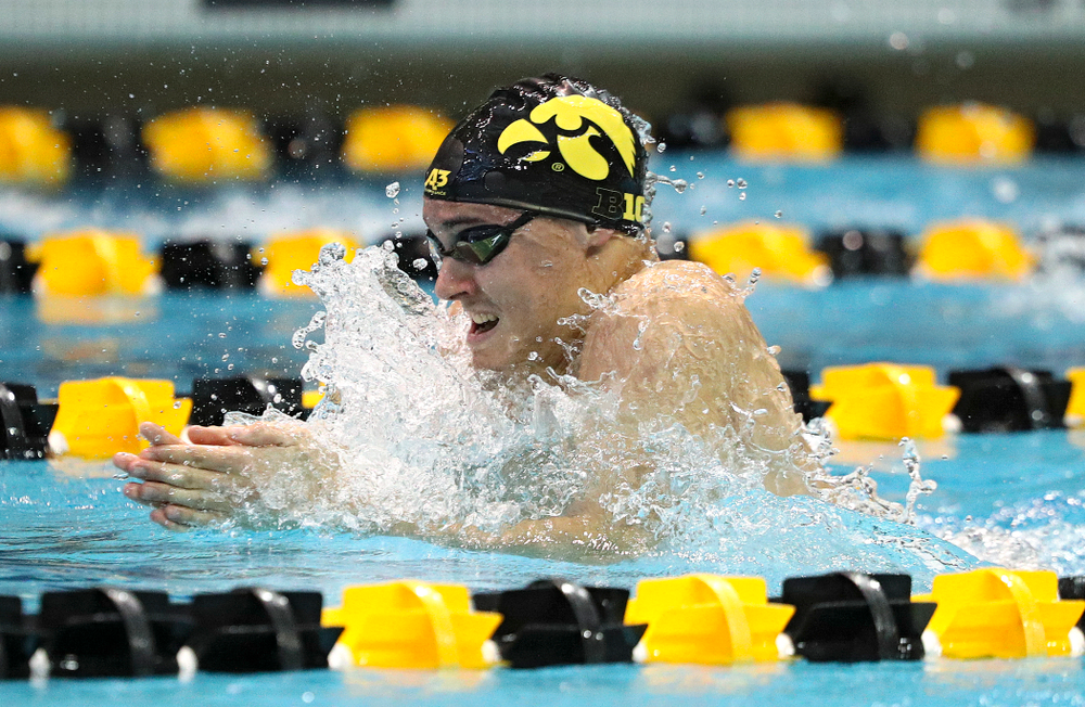 Iowa's Daniel Swanepoel swims the breaststroke section of the men's 200-yard medley relay event during their meet against Michigan State and Northern Iowa at the Campus Recreation and Wellness Center in Iowa City on Friday, Oct 4, 2019. (Stephen Mally/hawkeyesports.com)