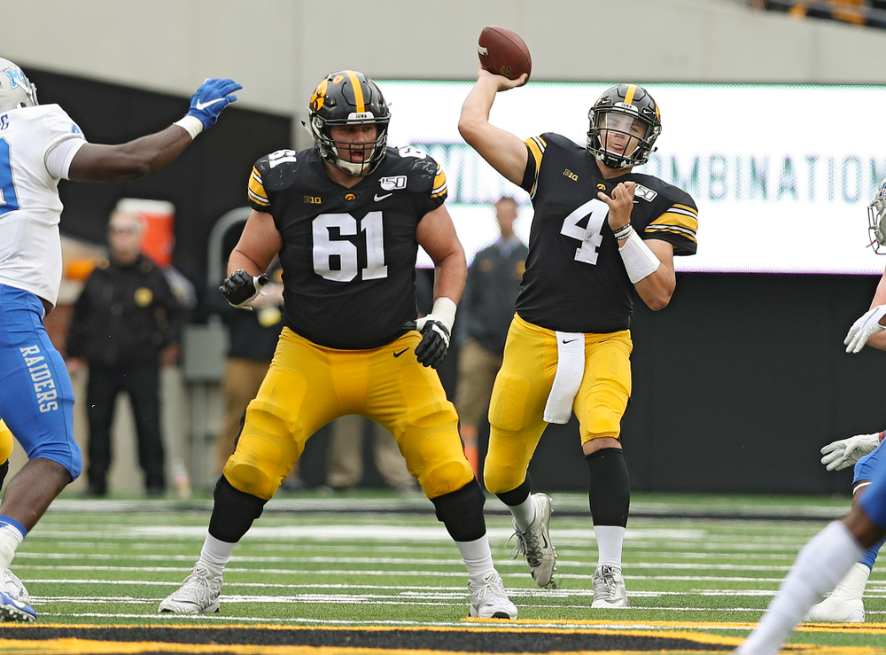 Iowa Hawkeyes quarterback Nate Stanley (4) throws a pass during fourth quarter of their game at Kinnick Stadium in Iowa City on Saturday, Sep 28, 2019. (Stephen Mally/hawkeyesports.com)
