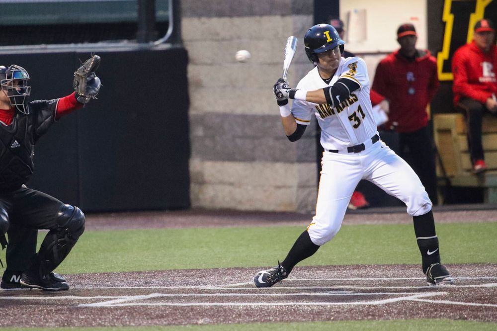 Iowa infielder Matthew Sosa  at game 1 vs Rutgers on Friday, April 5, 2019 at Duane Banks Field. (Lily Smith/hawkeyesports.com)