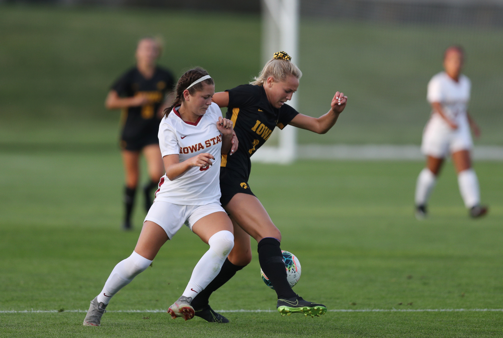Iowa Hawkeyes midfielder Hailey Rydberg (2) during a 2-1 victory over the Iowa State Cyclones Thursday, August 29, 2019 in the Iowa Corn Cy-Hawk series at the Iowa Soccer Complex. (Brian Ray/hawkeyesports.com)