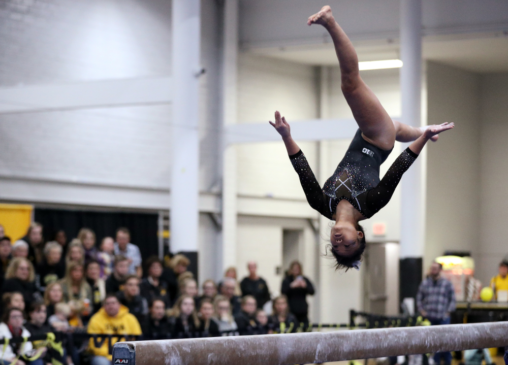 Misty Jade Carlson competes on the beam during the Black and Gold intrasquad meet Saturday, December 1, 2018 at the University of Iowa Field House. (Brian Ray/hawkeyesports.com)