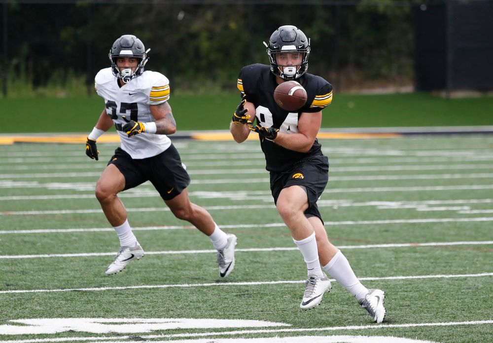 Iowa Hawkeyes wide receiver Nick Easley (84) during practice No. 4 of Fall Camp Monday, August 6, 2018 at the Hansen Football Performance Center. (Brian Ray/hawkeyesports.com)