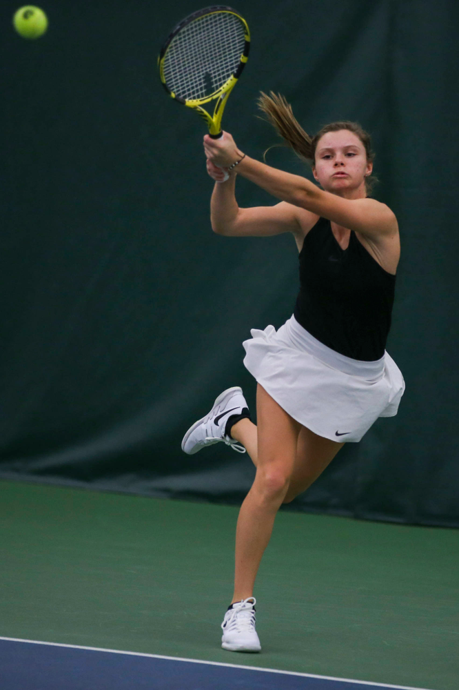 IowaÕs Cloe Ruette at womenÕs tennis senior day vs Nebraska on Saturday, April 13, 2019 at the Hawkeye Tennis and Recreation Complex. (Lily Smith/hawkeyesports.com)