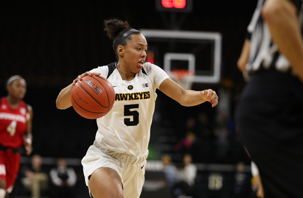 Iowa Hawkeyes guard Alexis Sevillian (5) against the Nebraska Cornhuskers Thursday, January 3, 2019 at Carver-Hawkeye Arena. (Brian Ray/hawkeyesports.com)