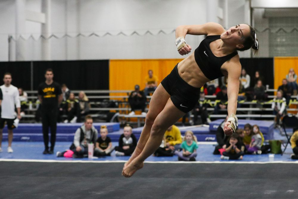Allie Gilchrist performs a floor routine during the Iowa women's gymnastics Black and Gold Intraquad Meet on Saturday, December 7, 2019 at the UI Field House. (Lily Smith/hawkeyesports.com)