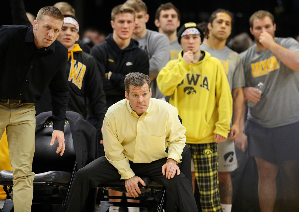 Iowa head coach Tom Brands looks on during Alex Marinelli's (not pictured) 165-pound match during their dual at Carver-Hawkeye Arena in Iowa City on Friday, January 31, 2020. (Stephen Mally/hawkeyesports.com)