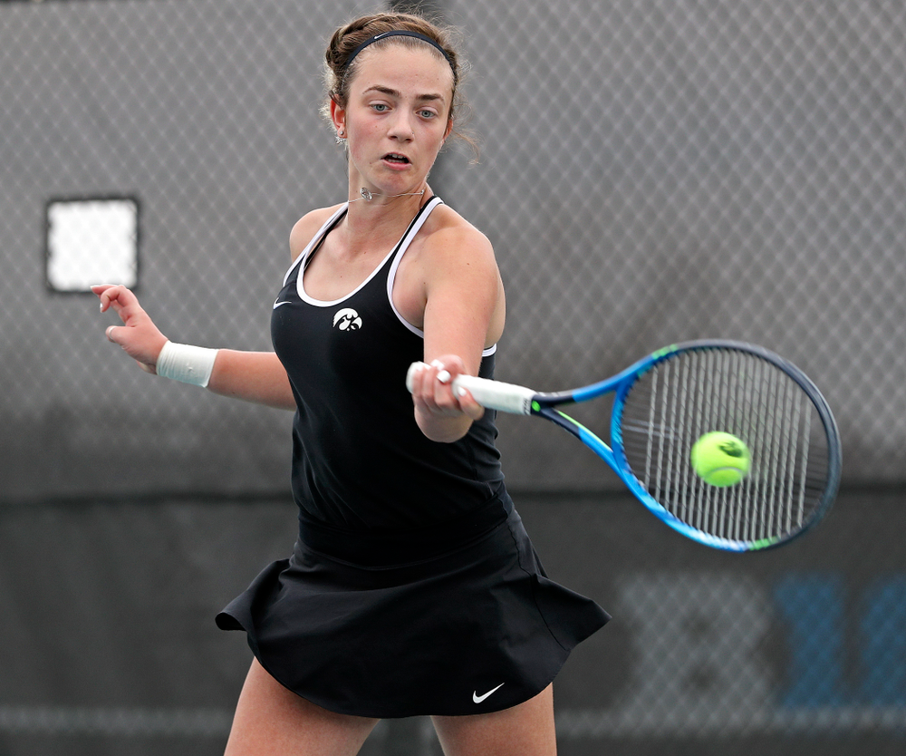 Iowa's Sophie Clark during a match against Rutgers at the Hawkeye Tennis and Recreation Complex in Iowa City on Friday, Apr. 5, 2019. (Stephen Mally/hawkeyesports.com)