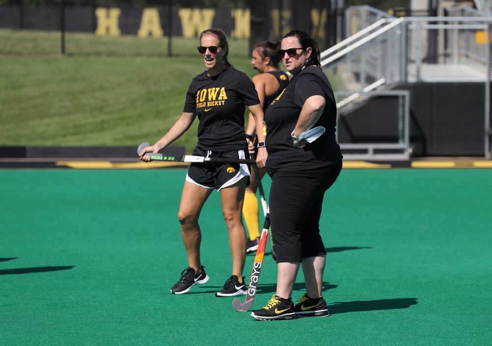 Iowa Hawkeyes head coach Lisa Cellucci and assistant coach Roz Ellis during the teamÕs annual media day Friday, August 23, 2019 at Grant Field. (Brian Ray/hawkeyesports.com)