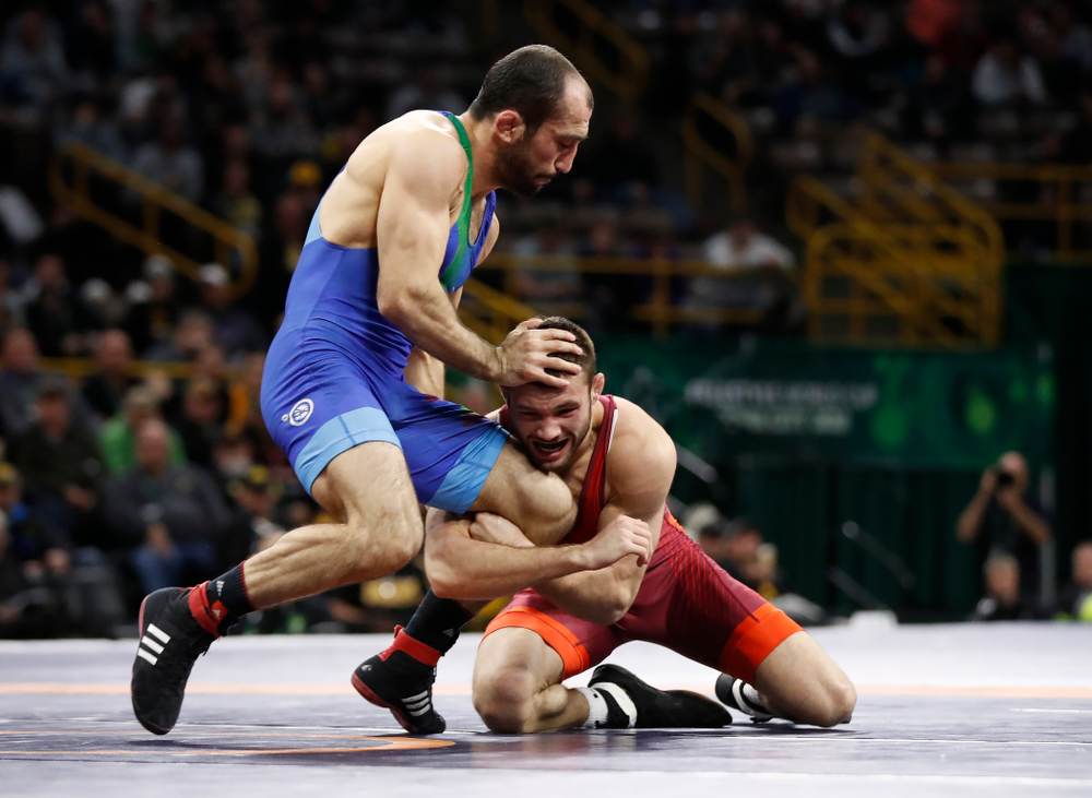 Thomas Gilman during the gold medal match of the United World Wrestling Freestyle World Cup against Azerbaijan Sunday, April 8, 2018 at Carver-Hawkeye Arena. (Brian Ray/hawkeyesports.com)