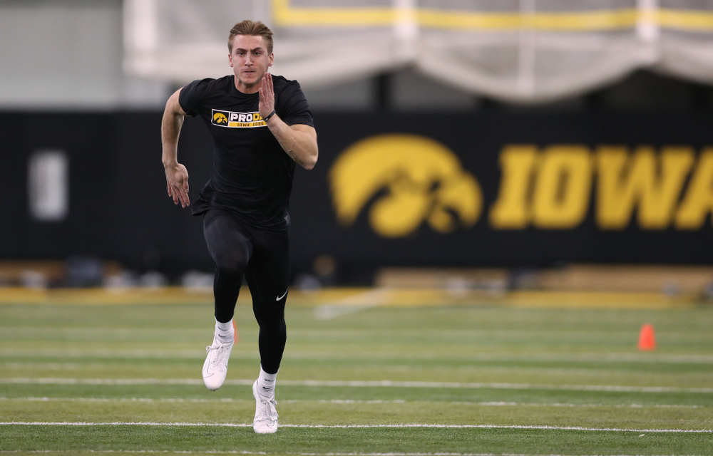 Iowa Hawkeyes wide receiver Kyle Groeneweg (14) during the teamÕs annual Pro Day Monday, March 25, 2019 at the Hansen Football Performance Center. (Brian Ray/hawkeyesports.com)