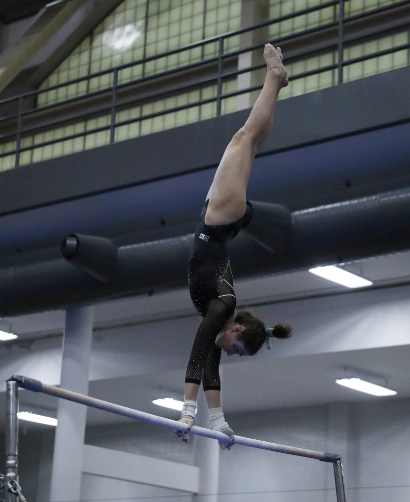 Bridget Killian competes on the bars during the Black and Gold intrasquad meet Saturday, December 1, 2018 at the University of Iowa Field House. (Brian Ray/hawkeyesports.com)