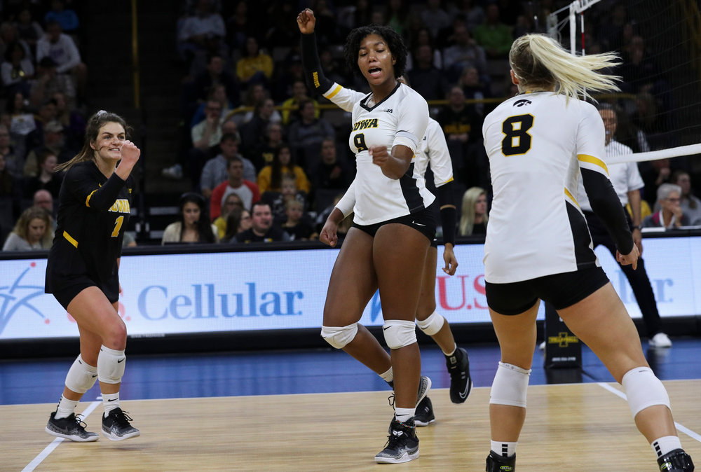 Iowa Hawkeyes middle blocker Amiya Jones (9) celebrates after winning a point during a match against Penn State at Carver-Hawkeye Arena on November 3, 2018. (Tork Mason/hawkeyesports.com)