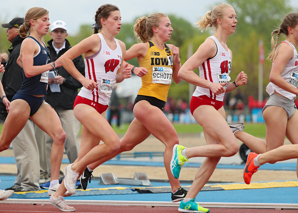 Iowa's Megan Schott runs in the women's 5000 meter event on the third day of the Big Ten Outdoor Track and Field Championships at Francis X. Cretzmeyer Track in Iowa City on Sunday, May. 12, 2019. (Stephen Mally/hawkeyesports.com)