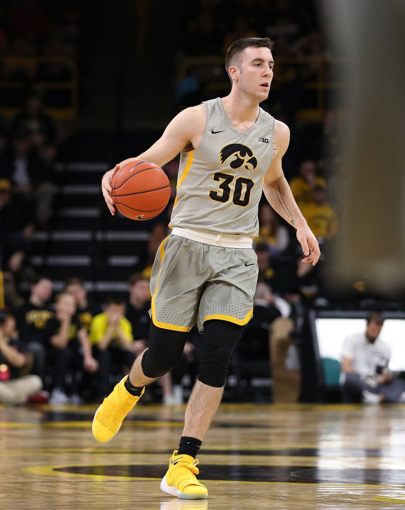 Iowa Hawkeyes guard Connor McCaffery (30) against the Nebraska Cornhuskers Sunday, January 6, 2019 at Carver-Hawkeye Arena. (Brian Ray/hawkeyesports.com)