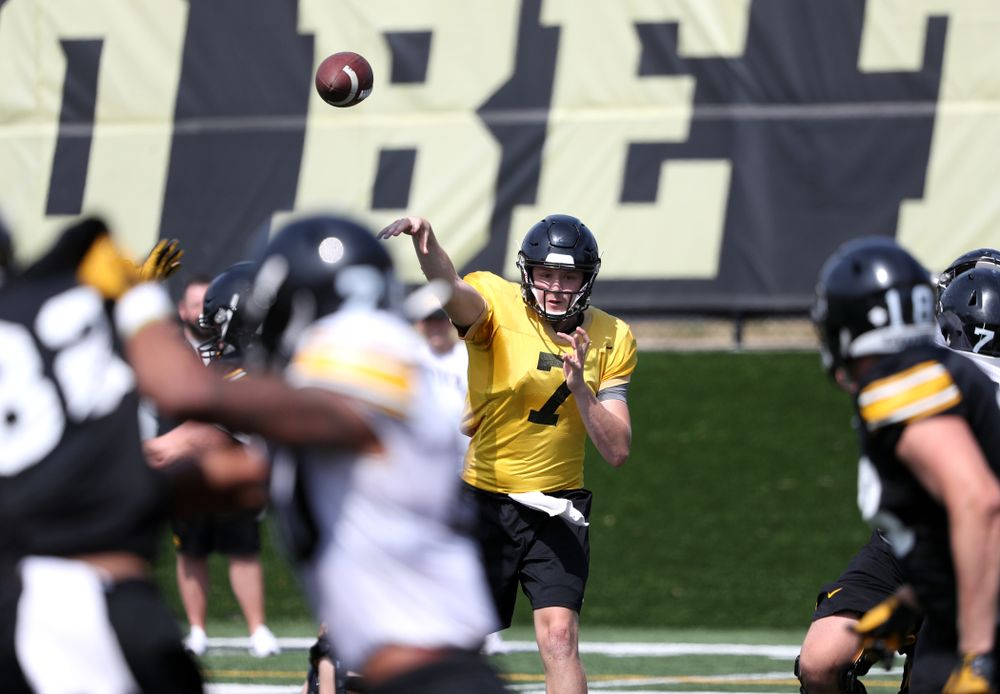 Iowa Hawkeyes quarterback Spencer Petras (7) during Fall Camp Practice No. 4 Monday, August 5, 2019 at the Ronald D. and Margaret L. Kenyon Football Practice Facility. (Brian Ray/hawkeyesports.com)