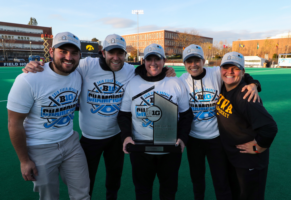 The Iowa Field Hockey coaches and staff following their game against Penn State in the 2019 Big Ten Field Hockey Tournament Championship Game Sunday, November 10, 2019 in State College. (Brian Ray/hawkeyesports.com)