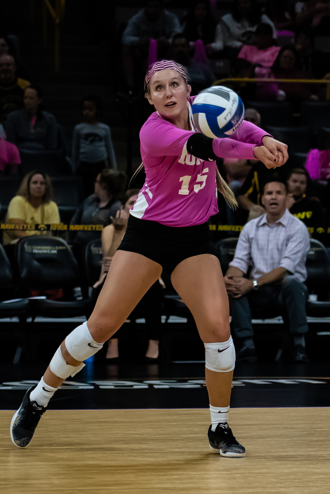 Iowa Hawkeyes defensive specialist Maddie Slagle (15) against the Wisconsin Badgers Saturday, October 6, 2018 at Carver-Hawkeye Arena. (Clem Messerli/Iowa Sports Pictures)
