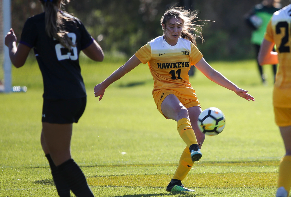 Iowa Hawkeyes midfielder Sydney Blitchok (11) passes the ball during a game against Northwestern at the Iowa Soccer Complex on October 21, 2018. (Tork Mason/hawkeyesports.com)