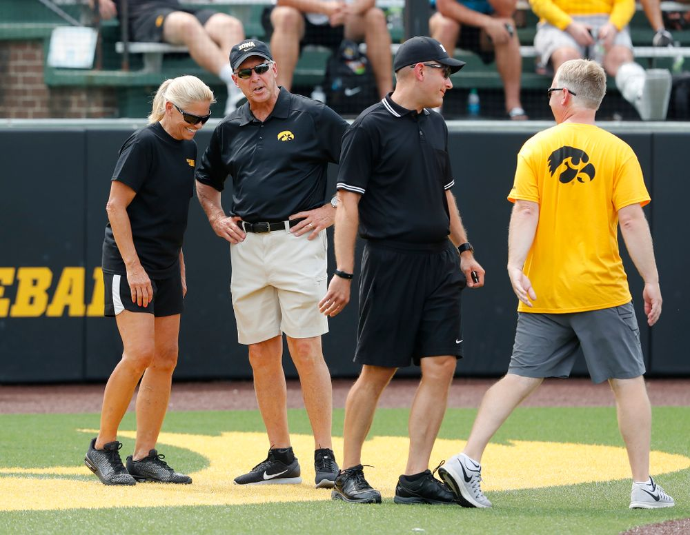 Iowa Hawkeyes Director of Athletics Gary Barta and Head Softball Coach Renee Gillispie during the Iowa Student Athlete Kickoff Kickball game  Sunday, August 19, 2018 at Duane Banks Field. (Brian Ray/hawkeyesports.com)