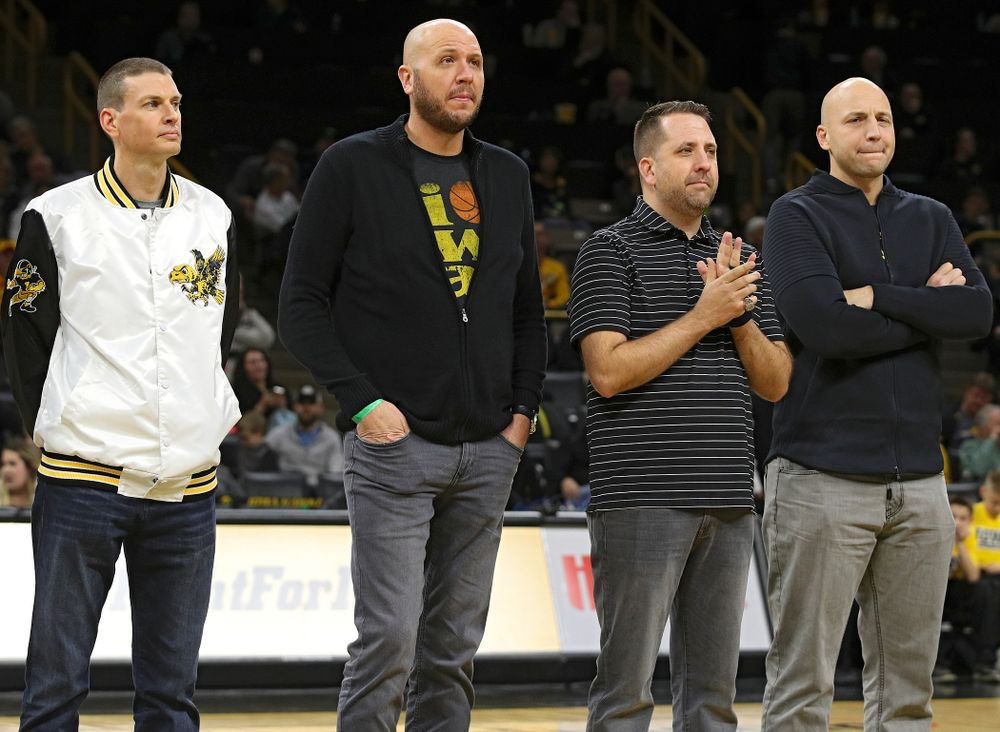 aFormer Iowa Men's Basketball Lettermen are honored during halftime of the game at Carver-Hawkeye Arena in Iowa City on Sunday, December 29, 2019. (Stephen Mally/hawkeyesports.com)
