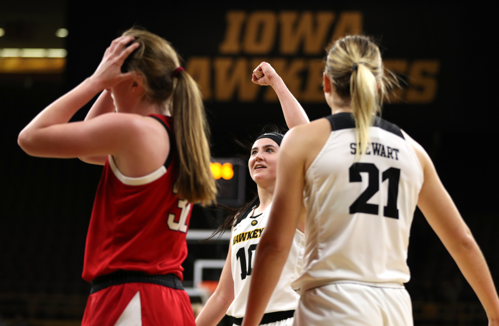 Iowa Hawkeyes forward Megan Gustafson (10) celebrates after making a basket and drawing a foul against the Nebraska Cornhuskers Thursday, January 3, 2019 at Carver-Hawkeye Arena. (Brian Ray/hawkeyesports.com)