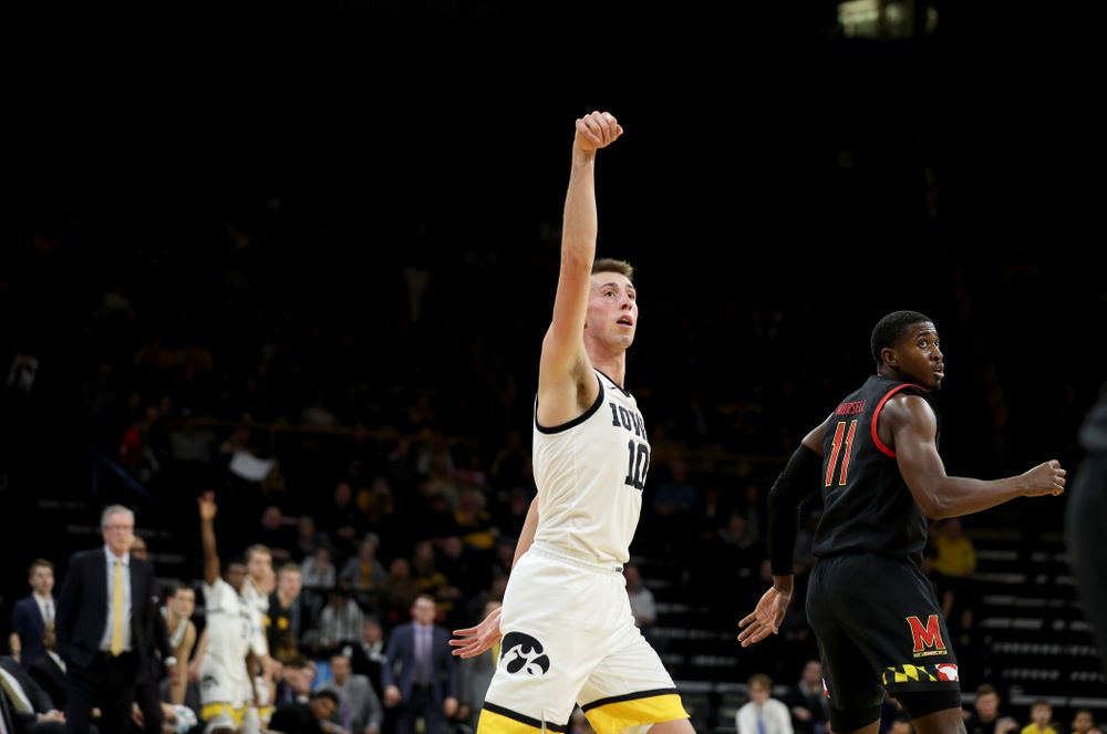 Iowa Hawkeyes guard Joe Wieskamp (10) celebrates a three point basket against the Maryland Terrapins Friday, January 10, 2020 at Carver-Hawkeye Arena. (Brian Ray/hawkeyesports.com)