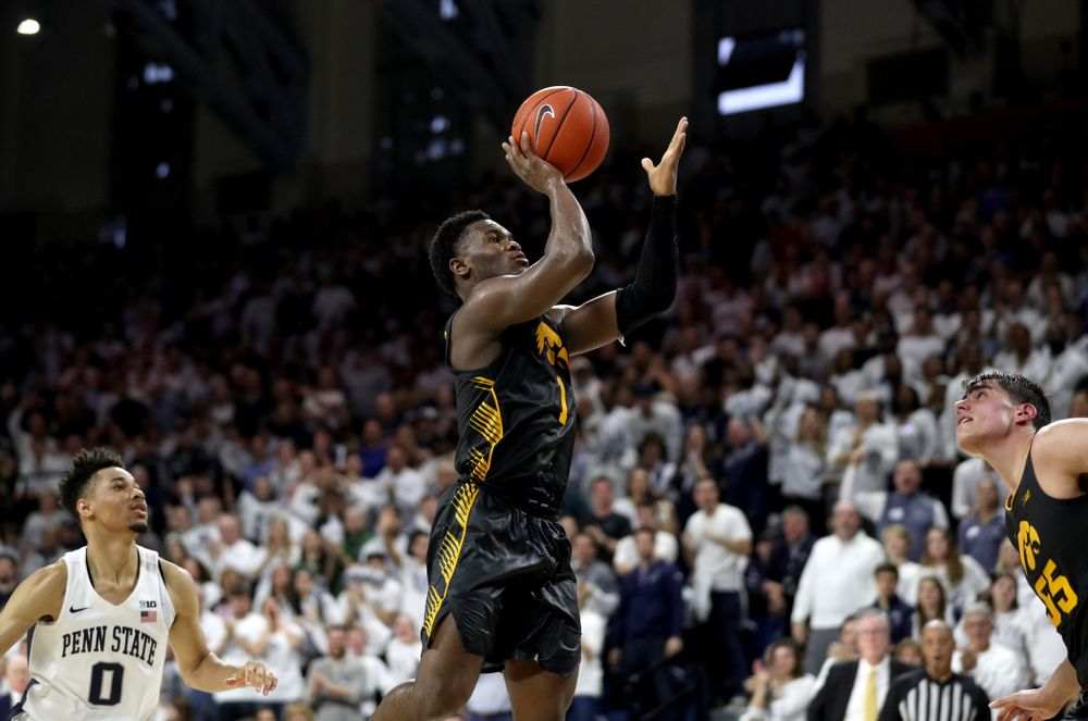 Iowa Hawkeyes guard Joe Toussaint (1) goes to the hoop against Penn State Saturday, January 4, 2020 at the Palestra in Philadelphia. (Brian Ray/hawkeyesports.com)