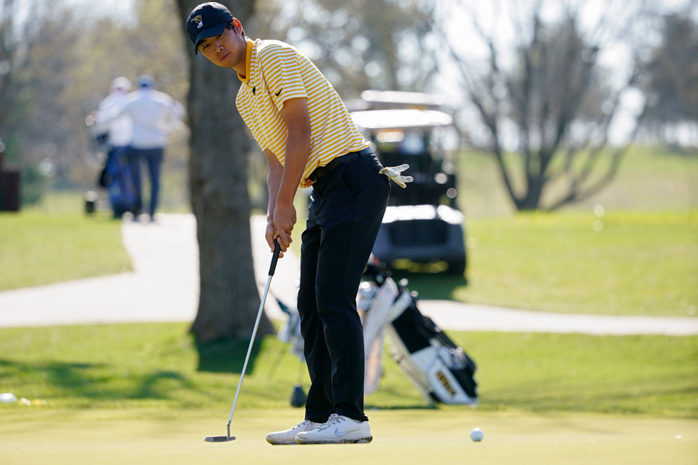 Iowa's Joe Kim putts during the third round of the Hawkeye Invitational at Finkbine Golf Course in Iowa City on Sunday, Apr. 21, 2019. (Stephen Mally/hawkeyesports.com)