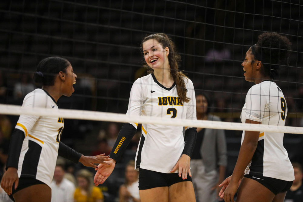 Iowa Hawkeyes setter Courtney Buzzerio (2) against Coastal Carolina Friday, September 20, 2019 at Carver-Hawkeye Arena. (Lily Smith/hawkeyesports.com)