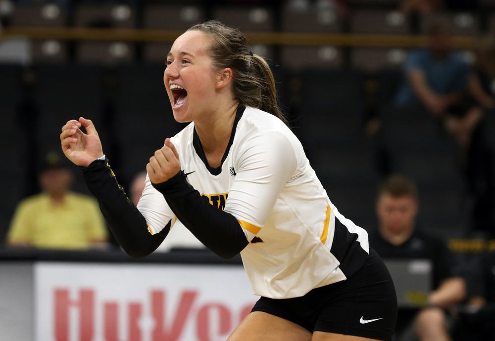 Iowa Hawkeyes defensive specialist Joslyn Boyer (1) against Lipscomb Friday, September 20, 2019 at Carver-Hawkeye Arena. (Brian Ray/hawkeyesports.com)