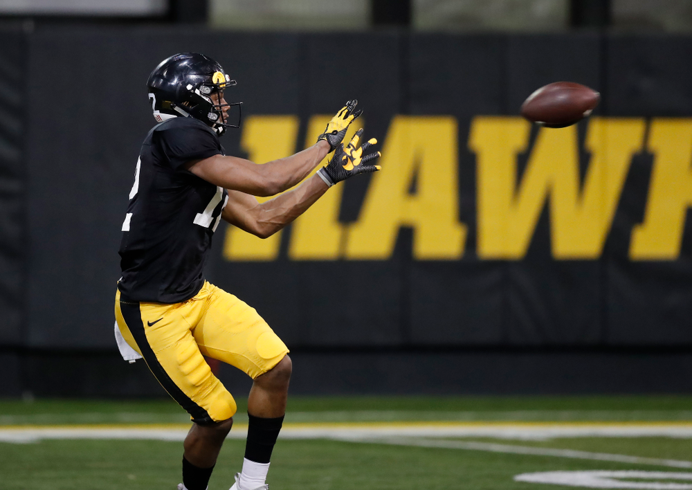 Iowa Hawkeyes wide receiver Brandon Smith (12) during spring practice No. 13 Wednesday, April 18, 2018 at the Hansen Football Performance Center. (Brian Ray/hawkeyesports.com)