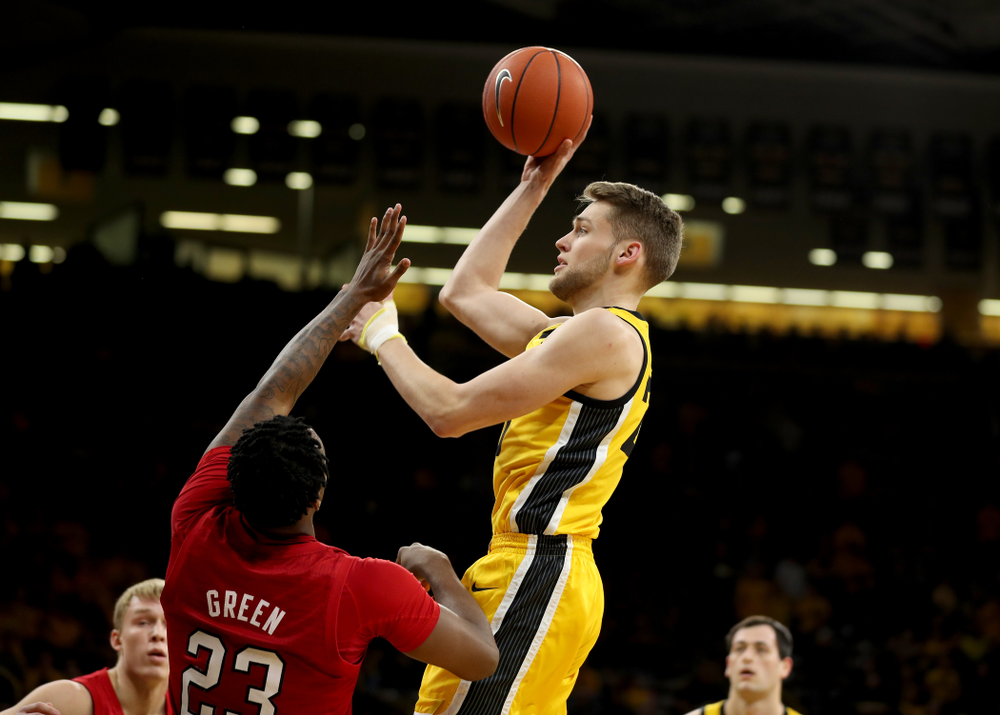 Iowa Hawkeyes forward Riley Till (20) against the Nebraska Cornhuskers Saturday, February 8, 2020 at Carver-Hawkeye Arena. (Brian Ray/hawkeyesports.com)