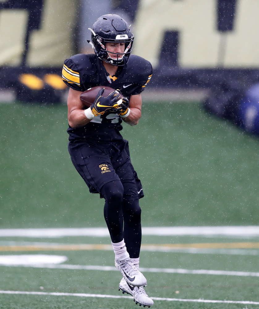 Iowa Hawkeyes wide receiver Kyle Groeneweg (14) during camp practice No. 15  Monday, August 20, 2018 at the Hansen Football Performance Center. (Brian Ray/hawkeyesports.com)