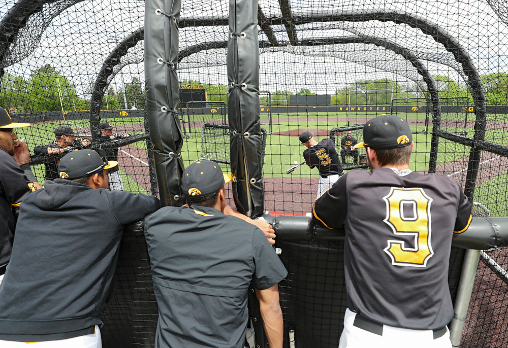 Iowa's Zeb Adreon takes batting practice at Duane Banks Field in Iowa City on Monday, May 20, 2019. (Stephen Mally/hawkeyesports.com)