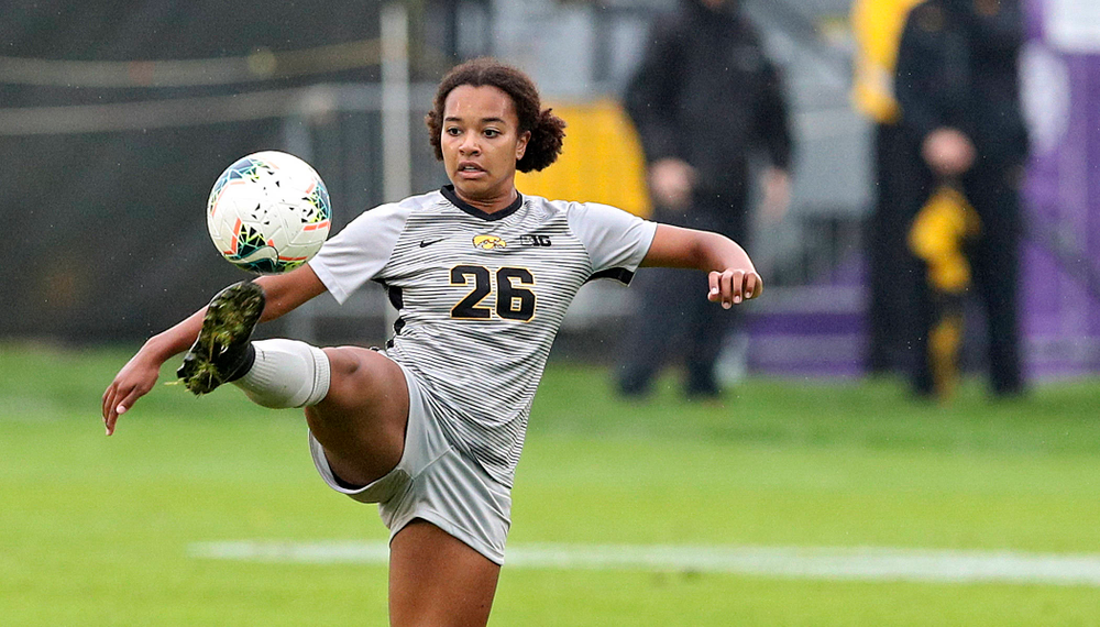 Iowa midfielder/forward Melina Hegelheimer (26) tries to control the ball during the first half of their match at the Iowa Soccer Complex in Iowa City on Sunday, Sep 29, 2019. (Stephen Mally/hawkeyesports.com)
