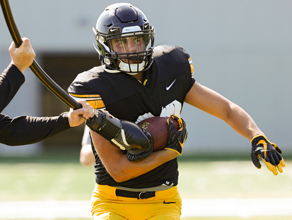 Iowa Hawkeyes wide receiver Nico Ragaini (89) runs a drill during Fall Camp Practice #5 at the Hansen Football Performance Center in Iowa City on Tuesday, Aug 6, 2019. (Stephen Mally/hawkeyesports.com)
