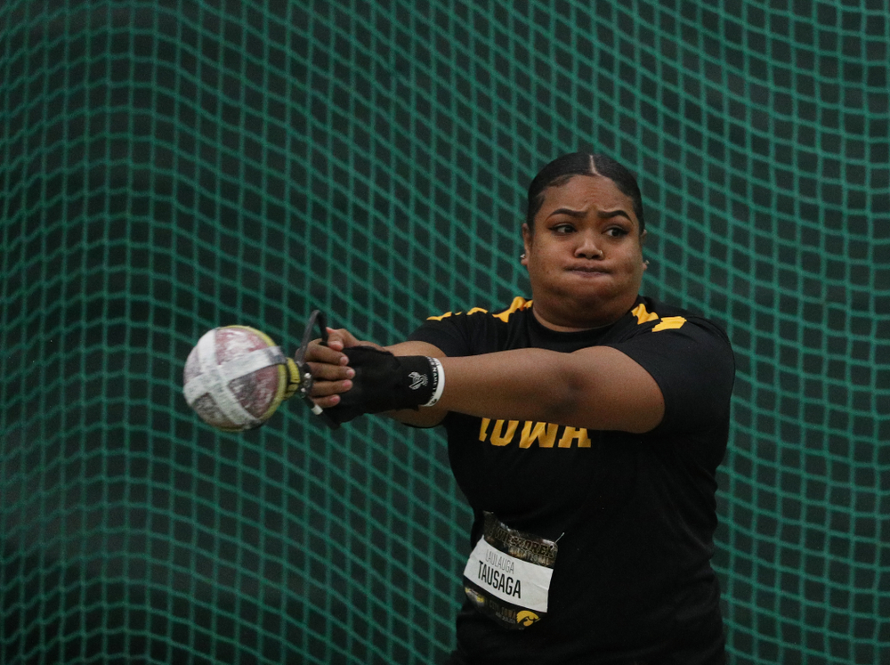 Iowa's Laulauga Tausaga competes in the weight throw during the 2019 Larry Wieczorek Invitational  Friday, January 18, 2019 at the Hawkeye Tennis and Recreation Center. (Brian Ray/hawkeyesports.com)