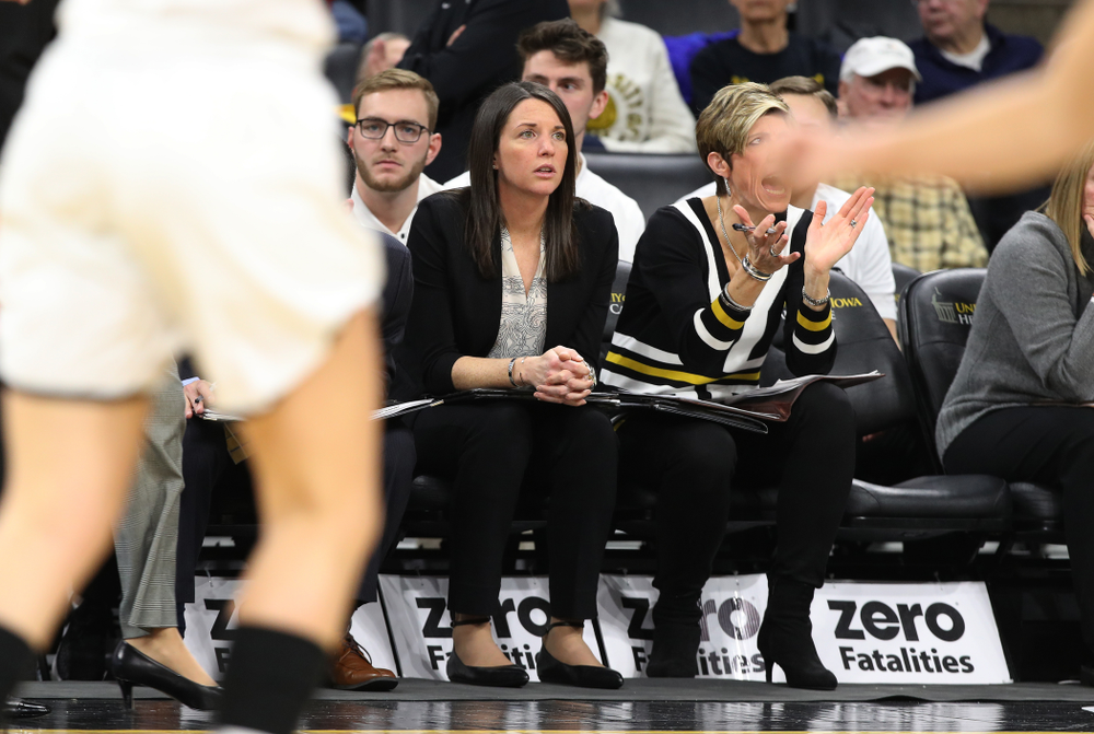 Director of Player Development Abby Stamp against the Rutgers Scarlet Knights Wednesday, January 23, 2019 at Carver-Hawkeye Arena. (Brian Ray/hawkeyesports.com)