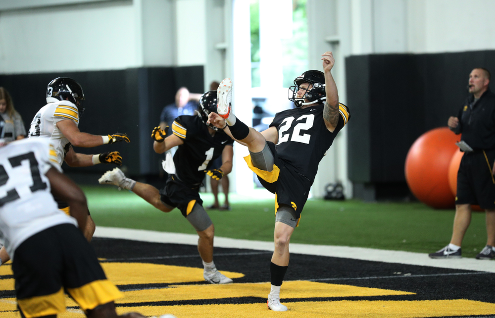 Iowa Hawkeyes punter Michael Sleep-Dalton (22) during Fall Camp Practice No. 16 Tuesday, August 20, 2019 at the Ronald D. and Margaret L. Kenyon Football Practice Facility. (Brian Ray/hawkeyesports.com)