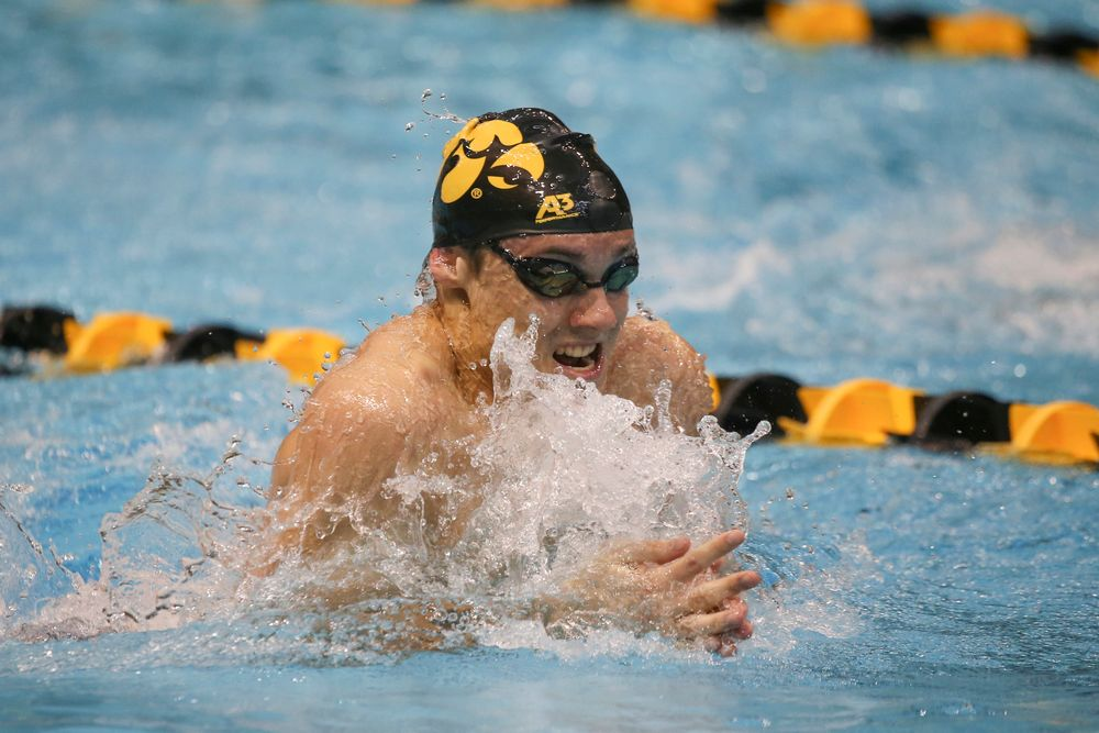 Iowa's Daniel Swanepoel swims the 100-yard breaststroke during the Iowa swimming and diving meet vs Notre Dame and Illinois on Saturday, January 11, 2020 at the Campus Recreation and Wellness Center. (Lily Smith/hawkeyesports.com)