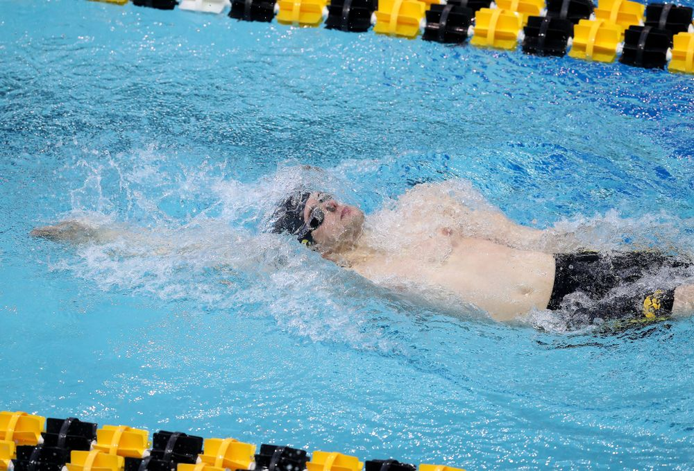 Iowa's Kenneth Mende competes in the 200-yard backstroke during the 2019 Big Ten Men's Swimming and Diving Championships Saturday, March 2, 2019 at the Campus Wellness and Recreation Center. (Brian Ray/hawkeyesports.com)