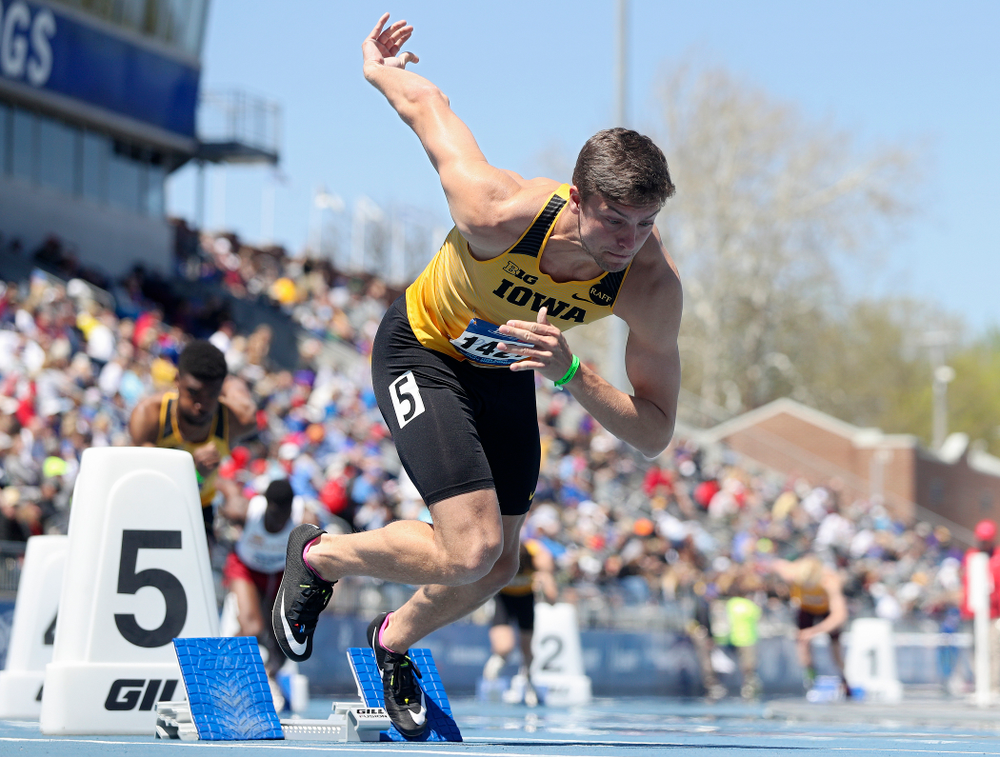 Iowa's Noah Larrison runs in the men's 400 meter hurdles event during the second day of the Drake Relays at Drake Stadium in Des Moines on Friday, Apr. 26, 2019. (Stephen Mally/hawkeyesports.com)