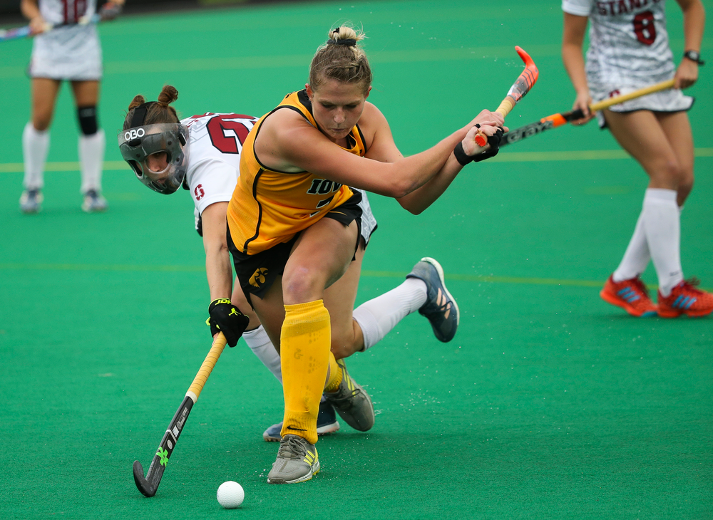 Iowa Hawkeyes midfielder Ellie Holley (7) takes a shot during a game against Stanford at Grant Field on October 7, 2018. (Tork Mason/hawkeyesports.com)